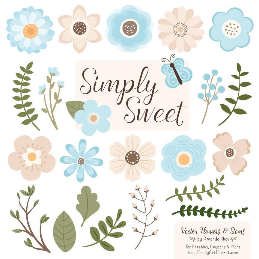 Soft Blue Cute Flower Clipart