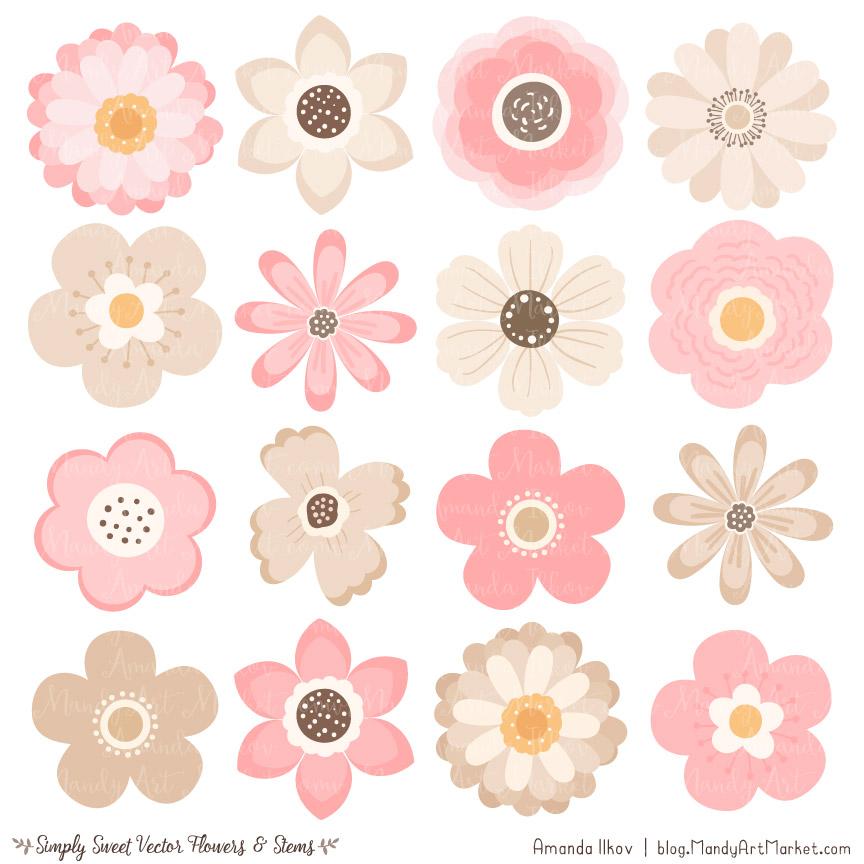 Soft Pink Flower Clipart Vectors