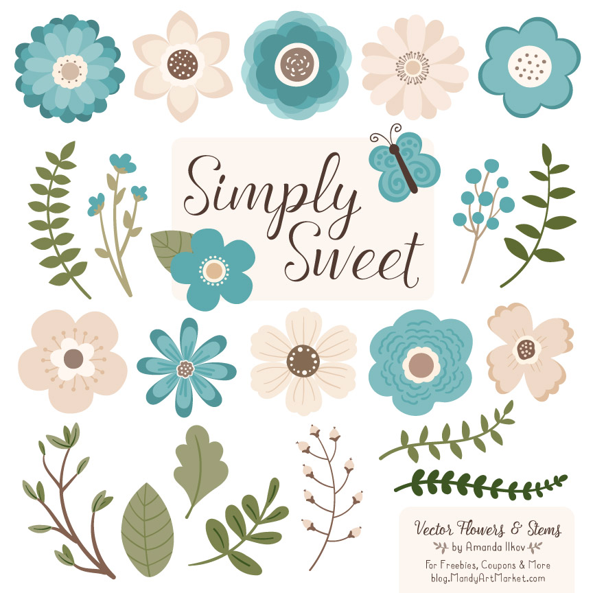 Vintage Blue Cute Flower Clipart