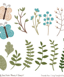 Vintage Blue Cute Flower Clipart