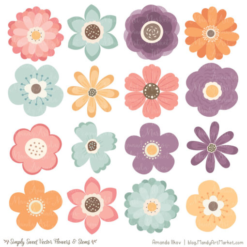 Vintage Cute Flower Clipart