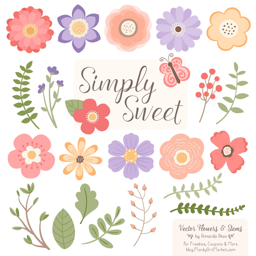 wildflowers flower clipart vectors rh mandyartmarket com wildflower clipart mozilla wildflower bouquet clipart