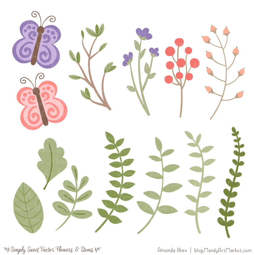 Wildflowers Cute Flower Clipart