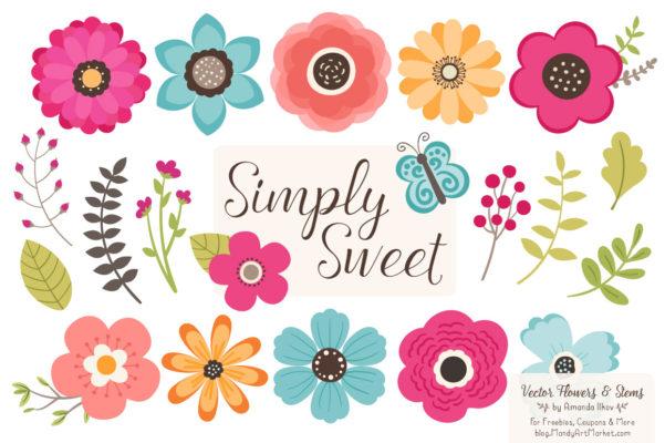 BohemianSimplySweet package 5 601x400 - Free Summer Flowers Clipart & Vectors