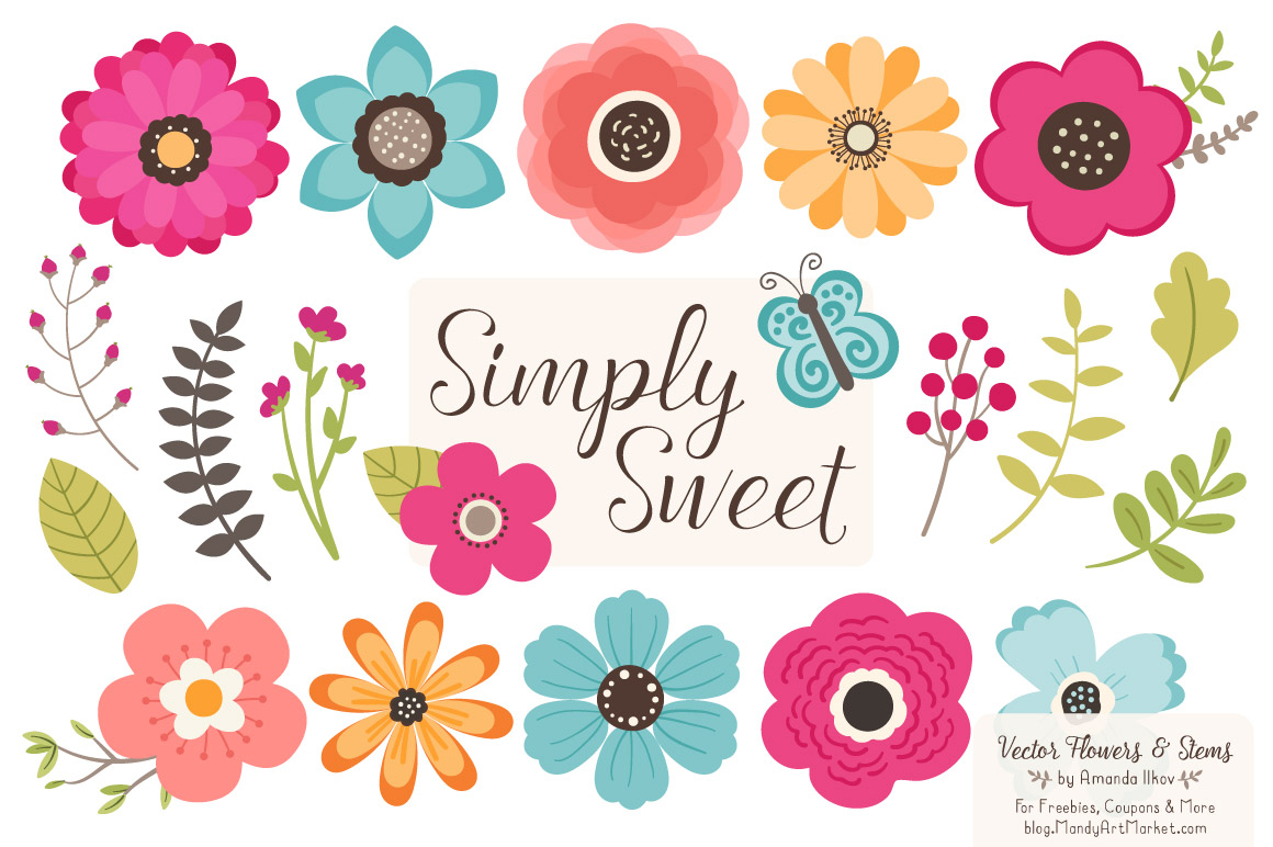 Free Summer Flowers Clipart & Vectors - Mandy Art Market
