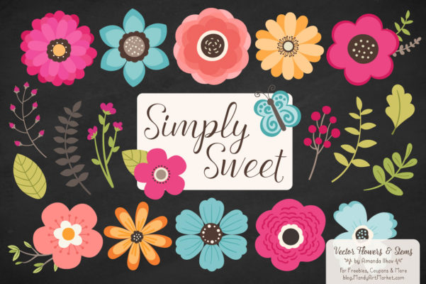 BohemianSimplySweet package 6 601x400 - Free Summer Flowers Clipart & Vectors