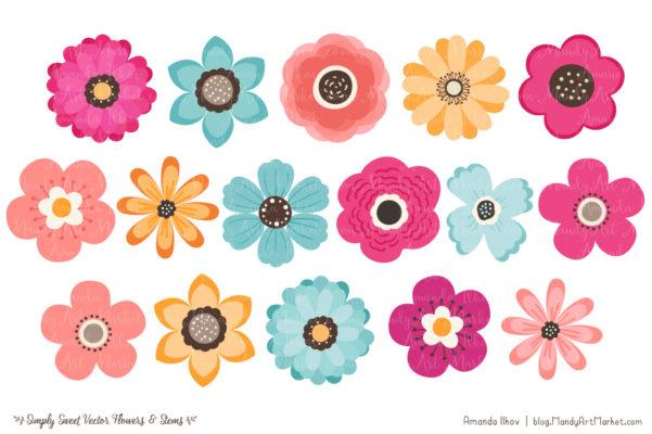 BohemianSimplySweet package 7 601x400 - Free Summer Flowers Clipart & Vectors