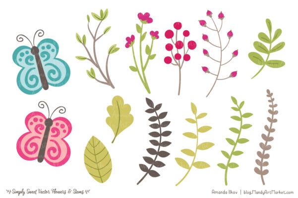 BohemianSimplySweet package 8 601x400 - Free Summer Flowers Clipart & Vectors