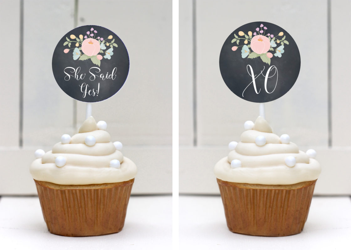 Free Bridal Shower Cupcake Toppers