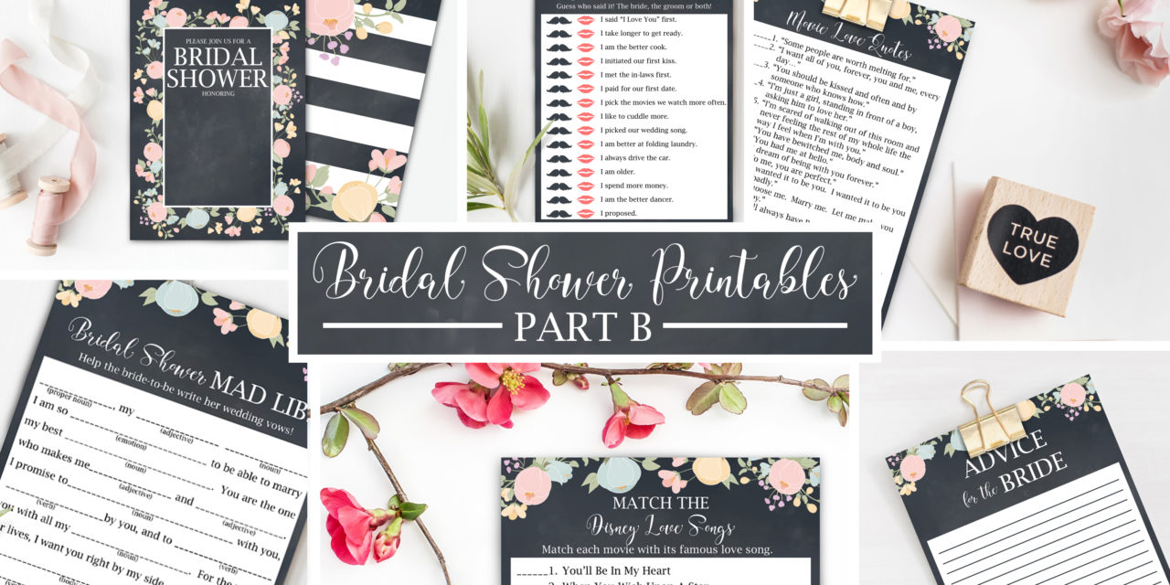 FreePrintablesB - Free Bridal Shower Printables from #jessiekdesign