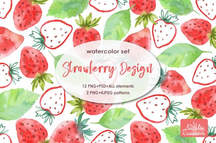 Watercolor Strawberry Clipart 1