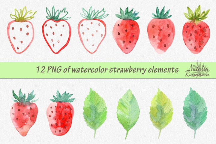 Watercolor Strawberry Clipart 2