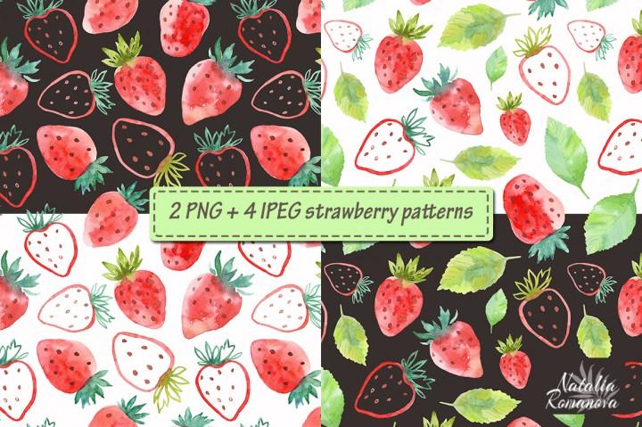 Watercolor Strawberry Clipart 3