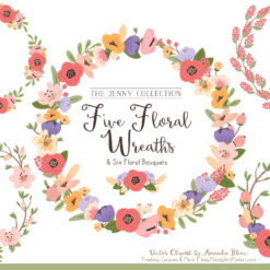 Pretty Wildflowers Floral Wreath Clipart