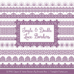 Amethyst Digital Lace Borders Clipart