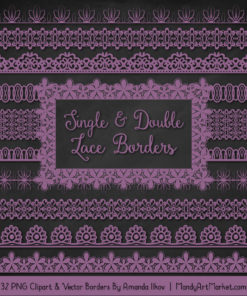 Amethyst Digital Lace Borders Clipart