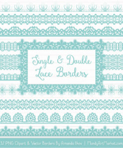 Aqua Digital Lace Borders Clipart