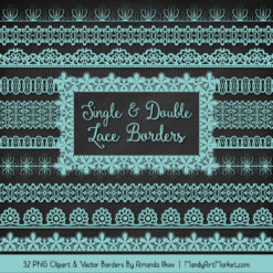 Aqua Digital Lace Borders Clipart