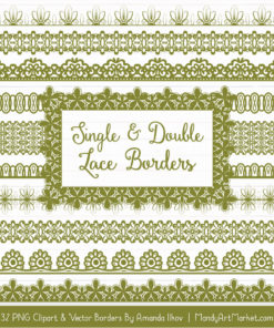 Avocado Digital Lace Borders Clipart