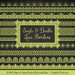 Bamboo Digital Lace Borders Clipart
