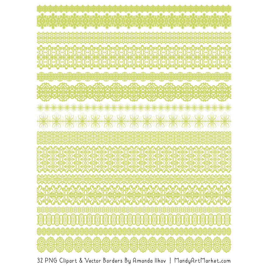 Bamboo Digital Lace Borders Clipart
