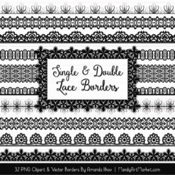 Black Digital Lace Borders Clipart