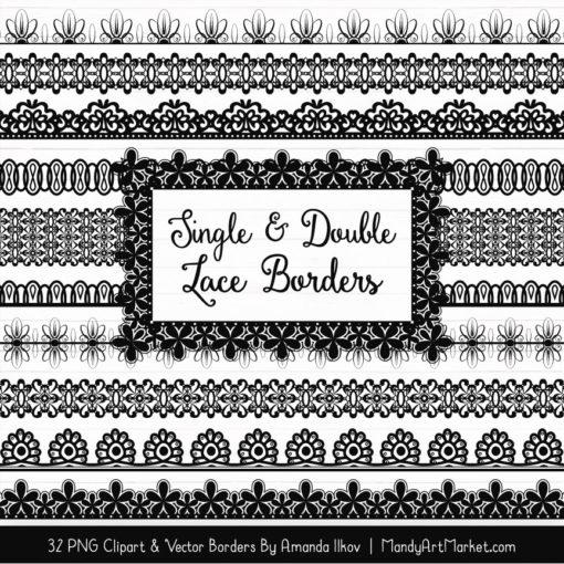 Black Digital Lace Borders Clipart