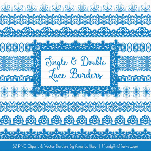 Blue Digital Lace Borders Clipart