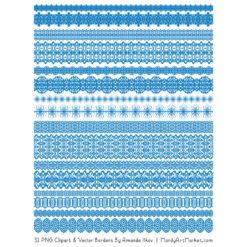 Blue Digital Lace Borders Clipart