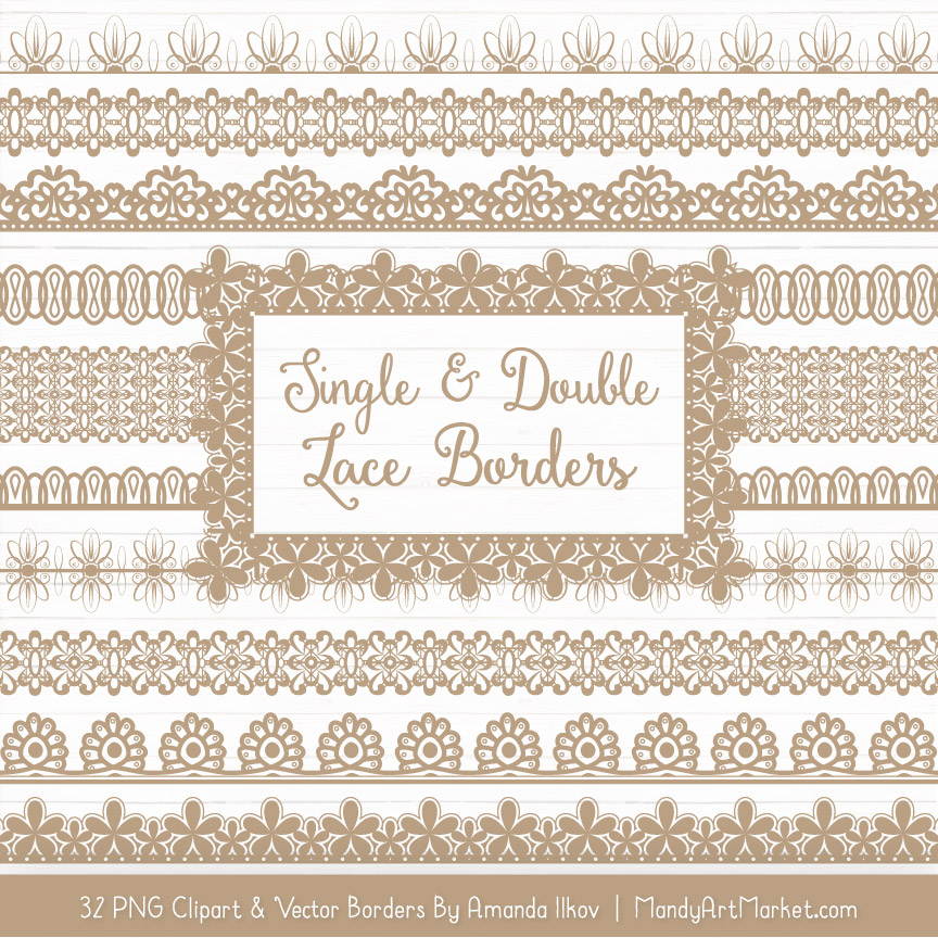 Champagne Digital Lace Borders Clipart