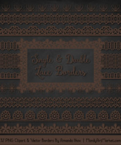 Chocolate Digital Lace Borders Clipart