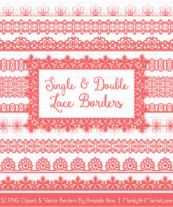 Coral Digital Lace Borders Clipart