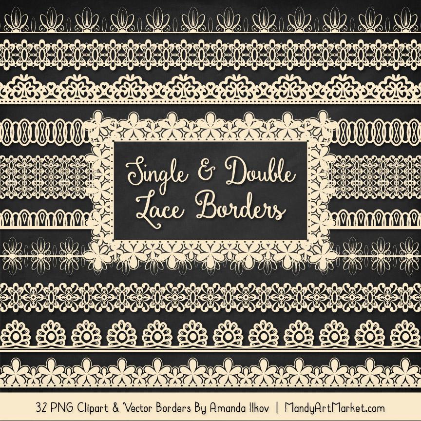 Cream Digital Lace Borders Clipart