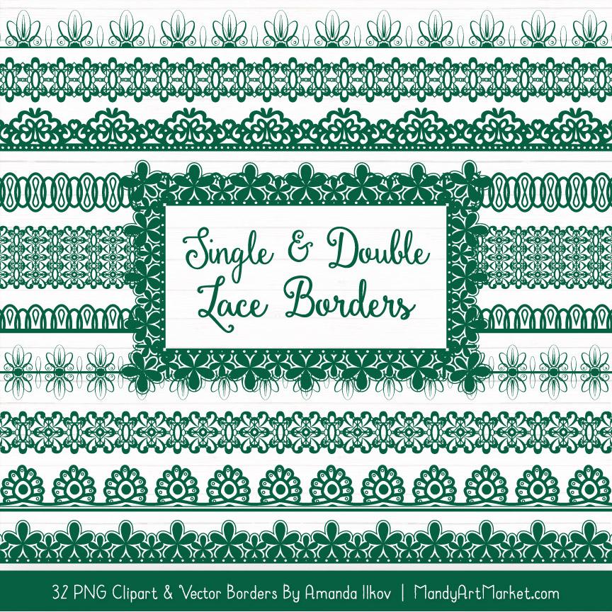 Emerald Digital Lace Borders Clipart