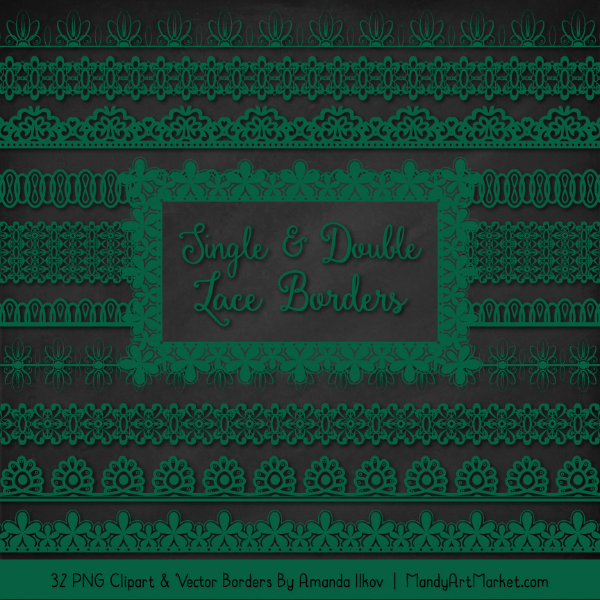 Emerald Digital Lace Borders Clipart