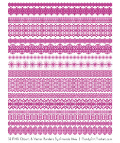 Fuchsia Digital Lace Borders Clipart