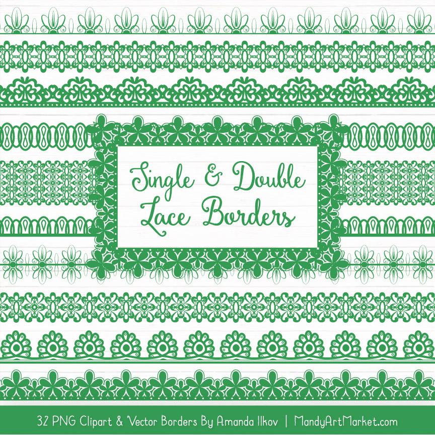 Green Digital Lace Borders Clipart