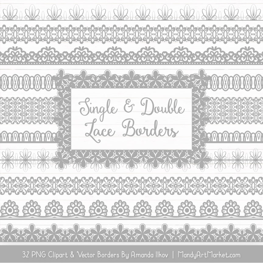 Grey Digital Lace Borders Clipart
