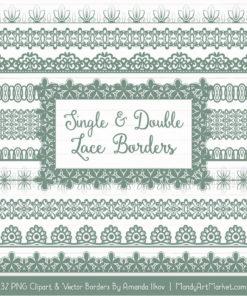 Hemlock Digital Lace Borders Clipart