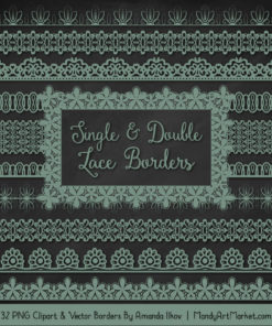 Hemlock Digital Lace Borders Clipart