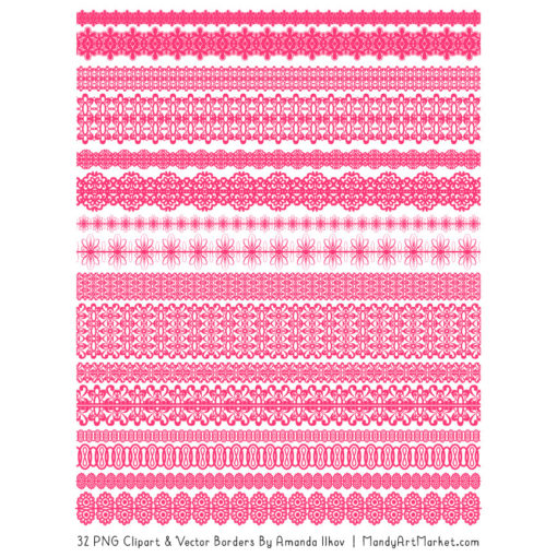 Hot Pink Digital Lace Borders Clipart
