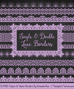 Lavender Digital Lace Borders Clipart