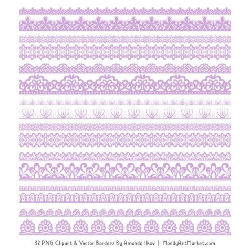 Lavender Digital Lace Borders Clipart