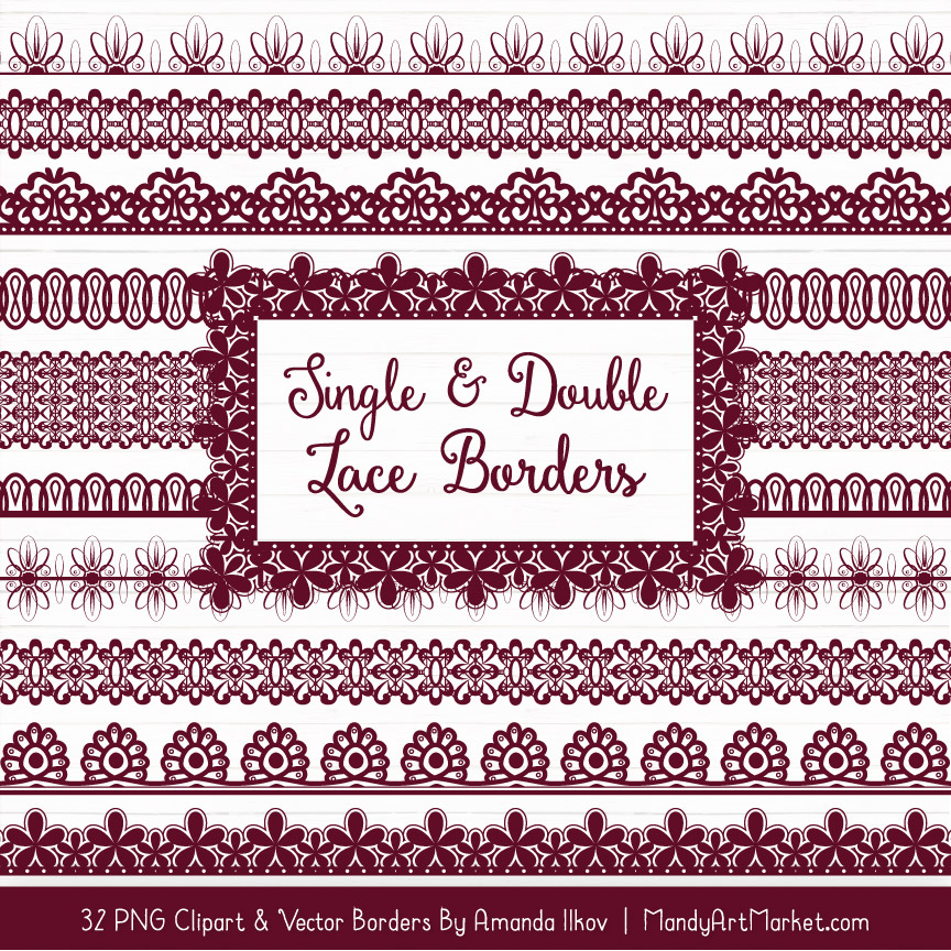 Merlot Digital Lace Borders Clipart
