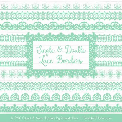 Mint Digital Lace Borders Clipart