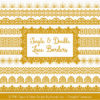 Mustard Digital Lace Borders Clipart