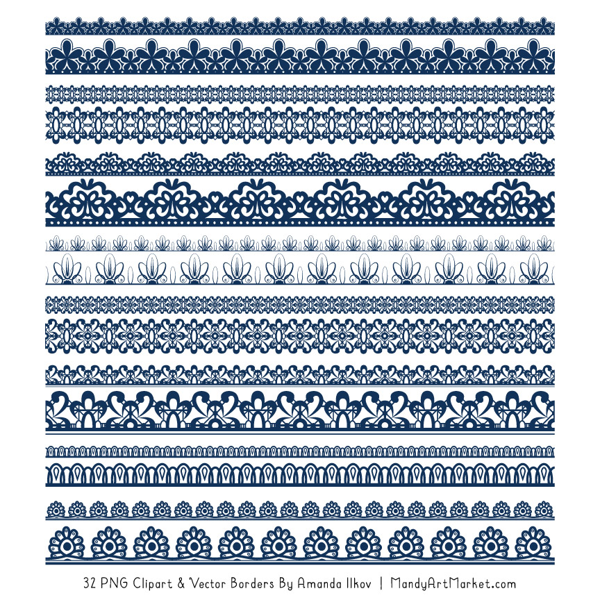 Navy Digital Lace Borders Clipart
