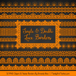 Orange Digital Lace Borders Clipart