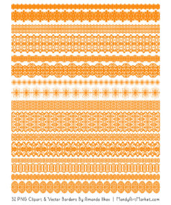 Orange Digital Lace Borders Clipart