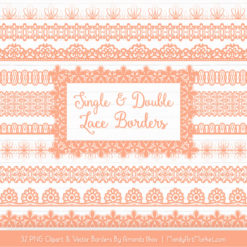 Peach Digital Lace Borders Clipart
